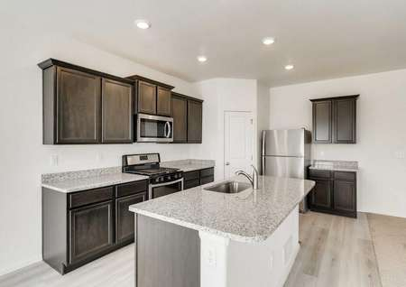 Pike plan's kitchen with huge island, beautiful cabinets, recessed lighting, stainless appliances