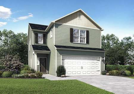 Ashley home plan exterior with green grass, plants, and dual car garage