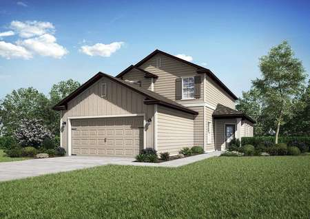 The Wekiva floor plans model home with a brown, tan and white exterior along with a lush green front yard.