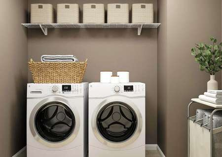 Rendering of the laundry room with dark   brown walls, a washer and dryer, shelf decorated with baskets and a laundry   hamper.