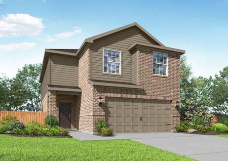 Artist rendering of the Mesquite by LGI Homes with brick and tan siding, two coach lights and front yard landscaping.