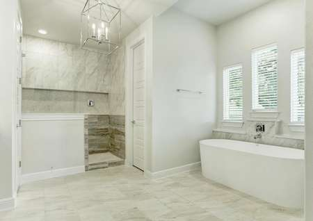 The luxurious master bath has a stunning shower and freestanding tub.