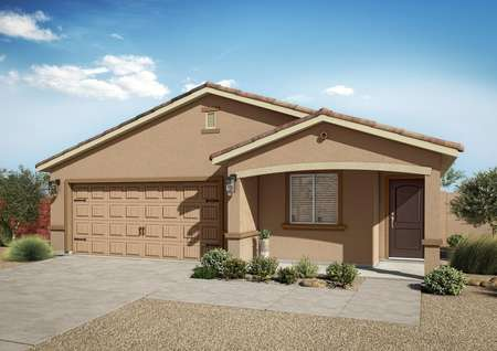 The Prescott floor plan with tan paint, tile roofing and professional landscaping.