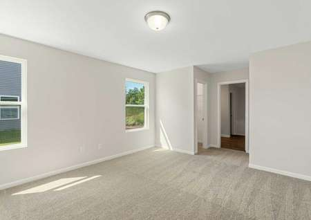 Burton finished room with ceiling light, off white walls with white trim, and lightly-colored carpeting