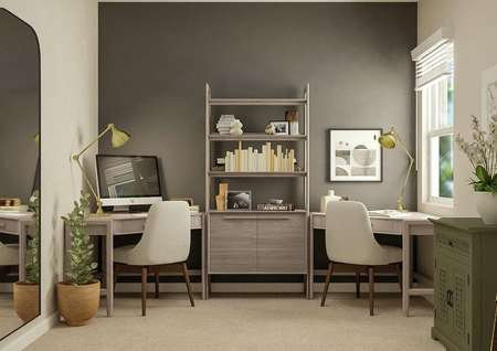 Rendering of a secondary bedroom   showcasing two corner desks with a bookshelf between them, an accent wall   painted a dark gray color, and a window. The room also has potted plants, a   large mirror and a green chest.