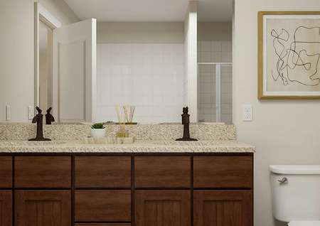 Rendering of the master bath focused on   the double-sink vanity, which has brown cabinetry and granite counters.