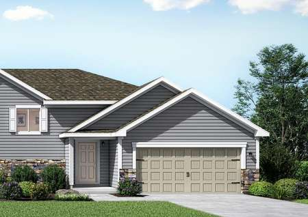 Rendering of front elevation of split-level Grant twinhome, gray siding with white trim and shutters, and beige garage doors.