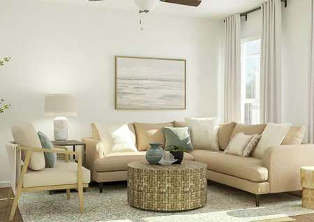 Rendering of the living room which has   carpeted flooring and two windows. The space is furnished with a tan   sectional couch, light-colored accent chair, round coffee table and two side   tables.