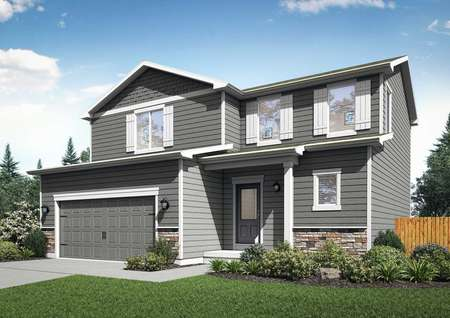 Artist rendering of the front elevation of the Mesa Verde home by LGI Homes, with gray siding and white trim.