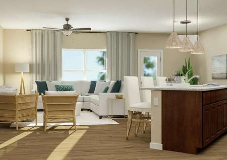 Rendering of the   kitchen showcasing brown cabinetry, stainless steel appliances, granite   countertops and a large island adorned with three counter-height chairs.