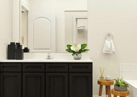 Rendering of the Maple master bath focused on the brown cabinet vanity. The tub is visible on the right and wooden stools topped with plants act as decor.