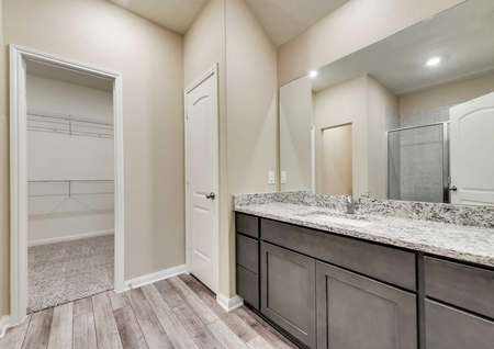 Erie master bath with walk-in closet and brown cabinets