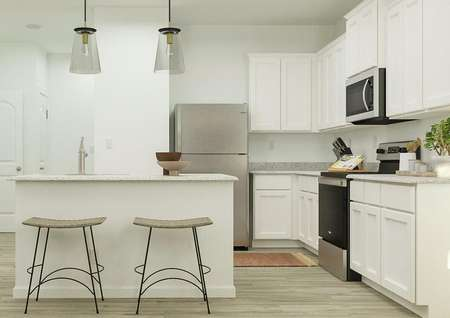 Rendering of the kitchen in the York,   which has an island, white cabinetry and stainless steel appliances.