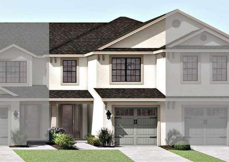 The Sorrento floor plan renderings that has a green decorative single-cargarage and a stylish front door.