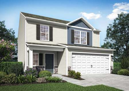 The Avery floor plan with shutters and stone accents.