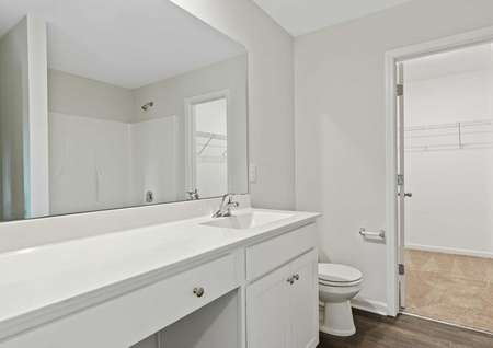 Avery home bath with white fixtures, extended vanity, and walk-in closet attached