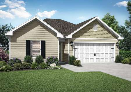 Renderings of the single-story Chatfield floor plan with brick walls, a grass front yardand a decorative attached garage.