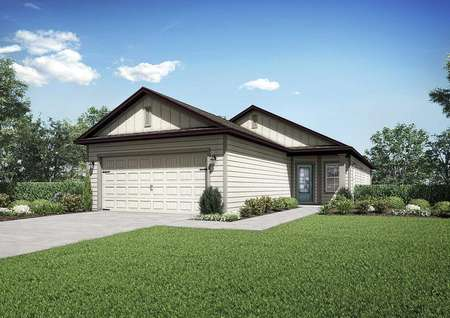 Front & side view of the Myakka floor plan renderingwith a front yard that has lush green grass and a two-car garage.