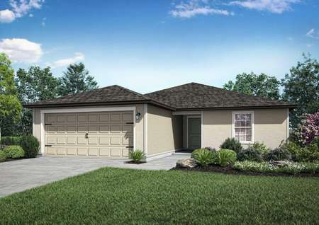 Home rendering with front yard landscaping, light colored siding and dark colored roofing.