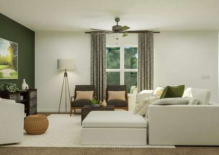 Rendering of the living room furnished   with a white sectional couch, two gray-and-wood accent chairs, a cream accent   chair and a floor lamp. The space has carpeted flooring and a large window.