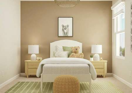 Rendering of a secondary bedroom with a   window decorated as a children's room with a tan accent wall, white bed,   light wood nightstands and a green-and-white rug.