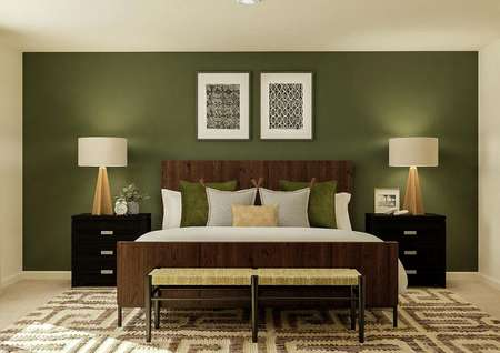 Rendering of the   spacious master bedroom with a window, large bed and two nightstands. The   wall with the bed has been painted with a dark green color.