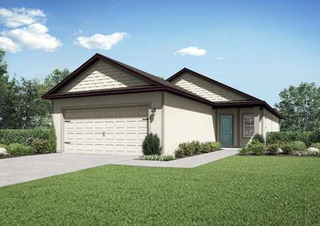 One-story home with a covered entryway, two-car garage and a window at the entrance.