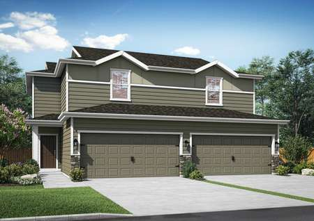Artist rendering of twinhome with dark gray sidiing, white trim, water table stone accents, covered front porch, front driveway and landscaping.