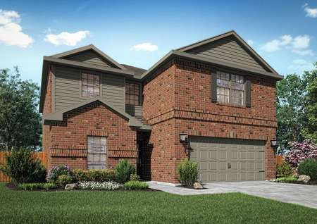 Two-story brick home with dark gray siding and window shutters.