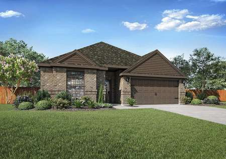 Ontario new house with exterior brick finish, dark roofing, and landscaped front yard