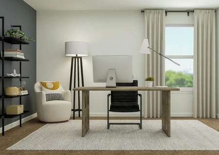 Rendering of a spacious room decorated   with a wood desk, black office chair, cream accent chair, black-and-white   floor lamp and black shelving. The room has carpeted flooring and a window.
