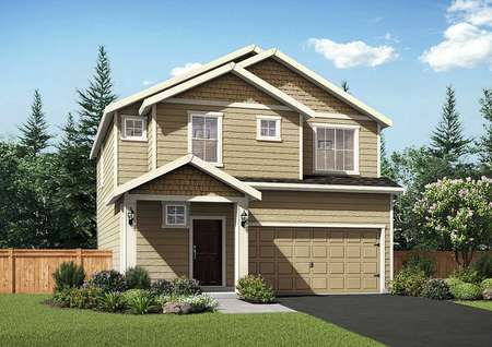 Cypress rendering with light brown siding, white trim, and landscape yard
