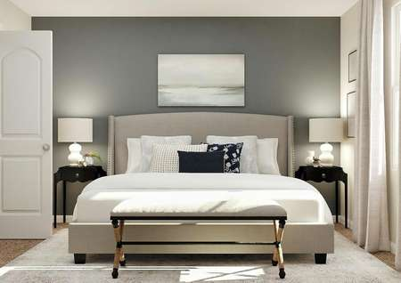 Rendering of secondary bedroom with large   gray bed, two black nightstands, window and entrance to the closet