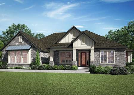 The Bradley is a one-story home with a beautiful stone exterior.
