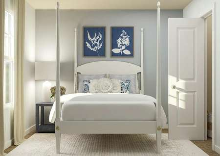 Rendering of a   secondary bedroom with a window, white poster bed, navy nightstand and the   doorway to a closet.