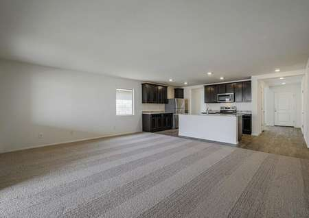 Spacious family room with an open-concept layout, leading into the designer kitchen.