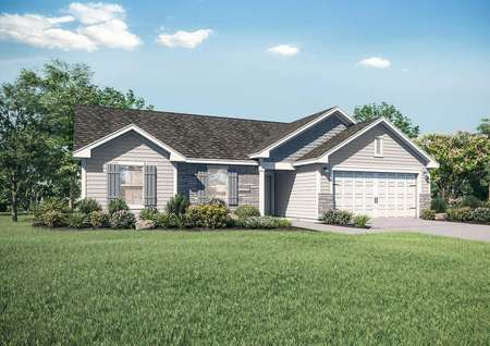 Chippewa artist rendering with single living level, landscaped yard, and white garage door
