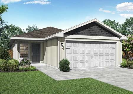 The Hawthorne plan is a charming single-story home with gray and white siding.