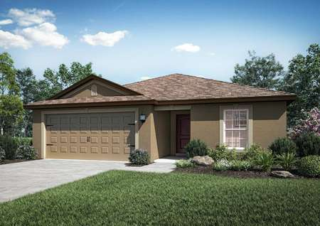 Single-story home rendering with landscaped front yard, brown on brown siding and a two-car garage