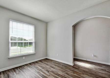 Fannin front room with white frame window with blinds, white on gray walls, and dark hardwood floors