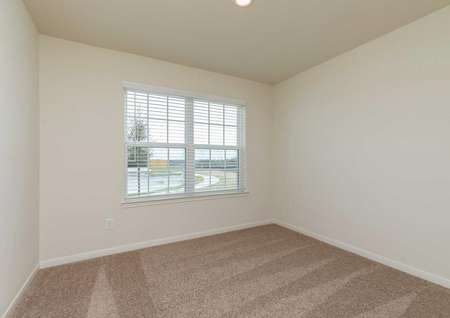 Blanco bedroom with multi pane window, dark brown carpet, and off-white walls with white trim