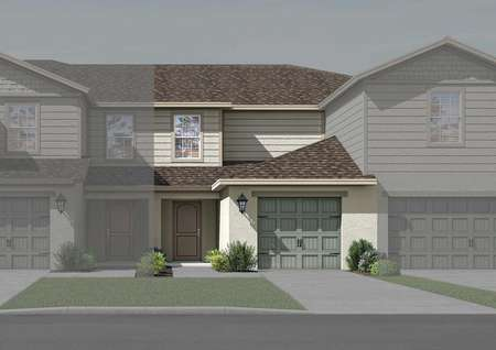 Illustration of two-story townhome with a one-car garage and front yard landscaping.