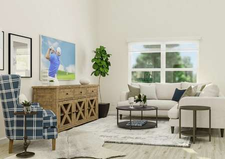 Rendering of the living room, which has   high ceilings and a large window. The space is furnished with a cream   sectional couch, round coffee and side table, plaid armchair and media   center.