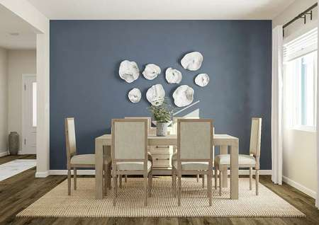 Rendering of the dining room with   wood-look vinyl flooring, large window, blue accent wall and a light colored   table with six chairs.