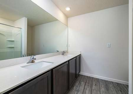 Double-sink vanity and large cabinet spaces make up the full bathroom in the owner's suite.