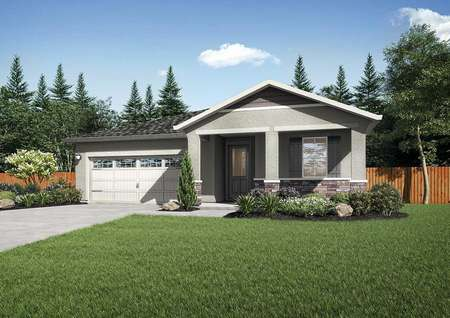 Lincoln exterior rendering with green grass, single-story elevation, and two-car garage