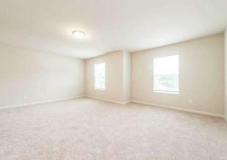 Burke completed single family house with light color carpets, off white wall paint, and white trim