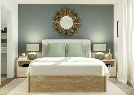 Rendering of owners bedroom with large   bed, dual side tables, and large mirror above bed.