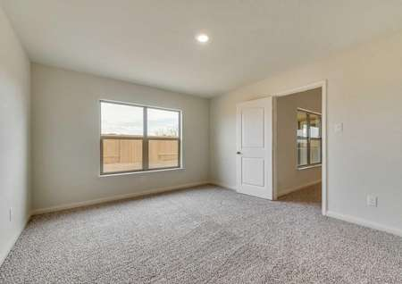 Spacious master suite with double windows and views into the back yard.