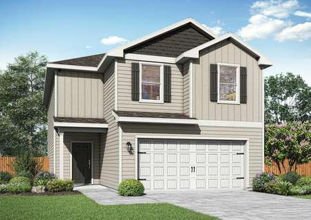 The Mesquite plan has a beautiful siding exterior with the added charm of window shutters.